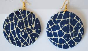 African Fabric Round Earrings - Navy Blue