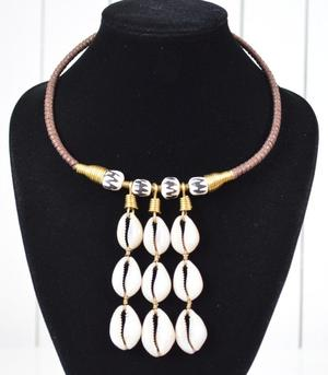 African Tribal Bone and Cowrie Necklace