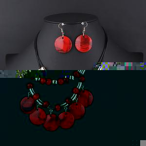 Beaded Round Pendant Collar Necklace Set - Red