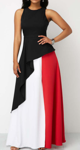 Color Blocked Maxi Dress  (Black-Red-White)