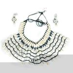 Double Row Cowrie Shell Fan Necklace Set