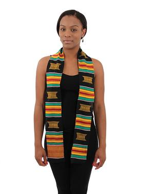 Kente and Black Afrocentric Sash - Unisex