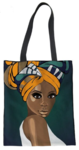 Queen in Colorful Head Wrap Tote Bag