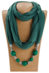 Beaded Scarf Necklace - Green